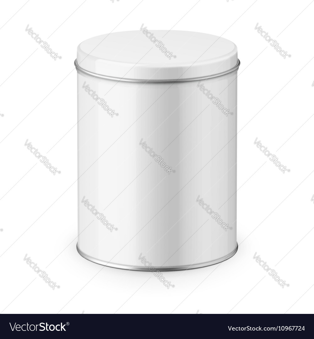 Round glossy tin can template vector
