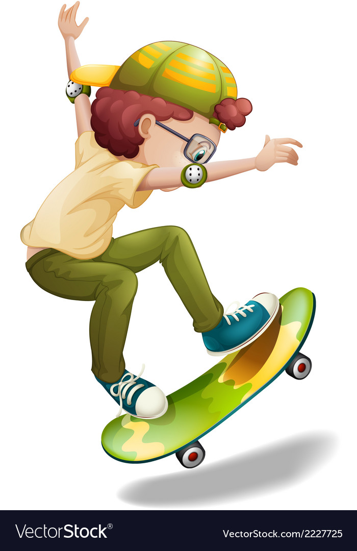 An energetic boy skating vector