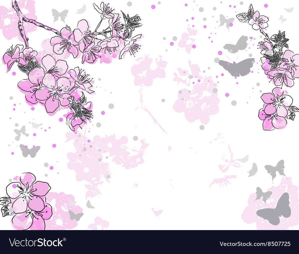 Hand drawn purple floral background vector
