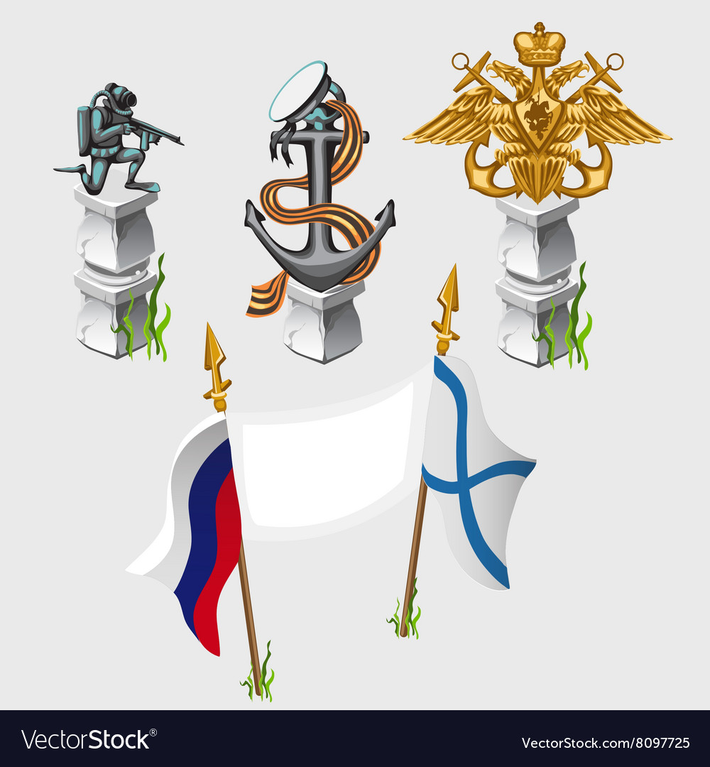 Russian and naval flag emblem symbols monument vector