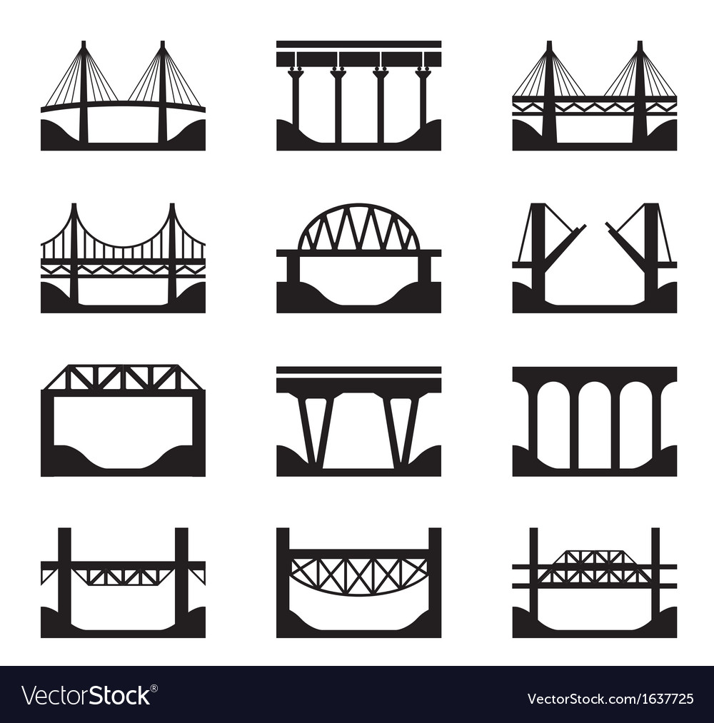 Various types of bridges vector
