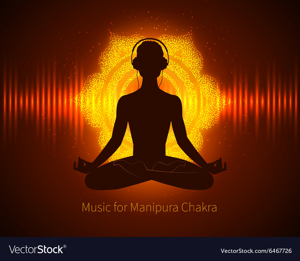 Man silhouette meditating vector