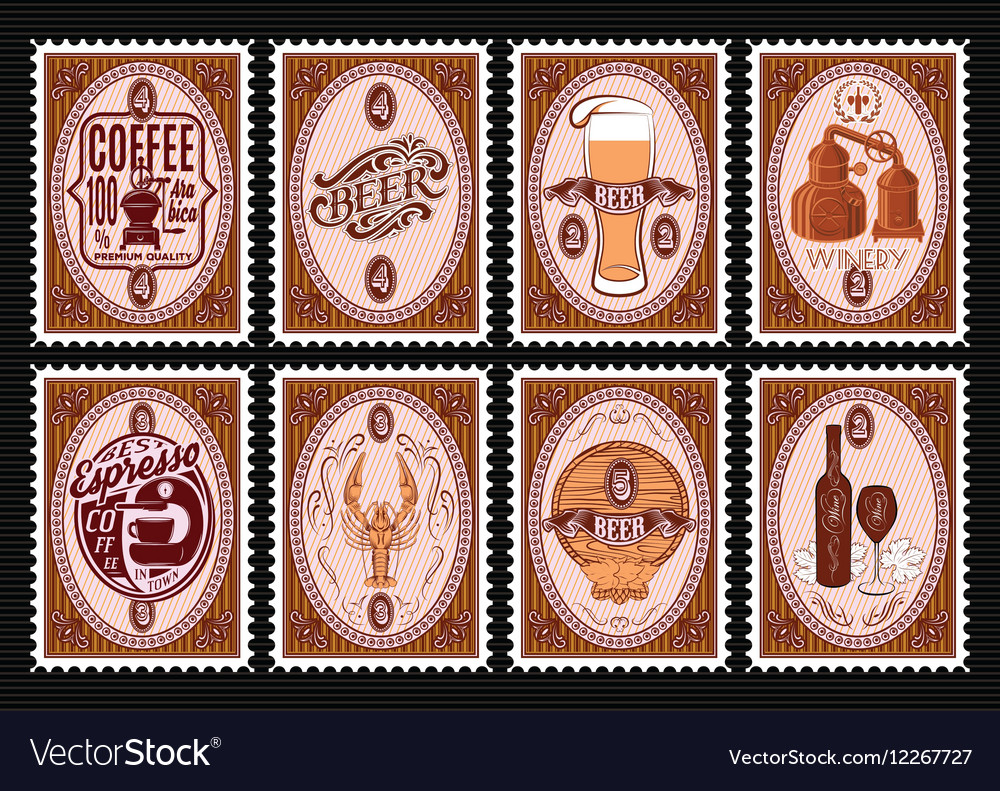 Set of postage stamps template with various vector