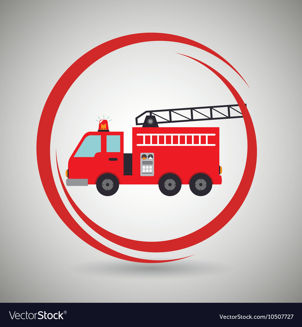 Truck fireman rescue fire vector