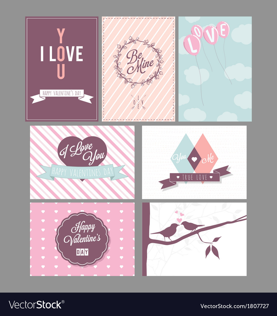 Valentines day and weeding cards vector