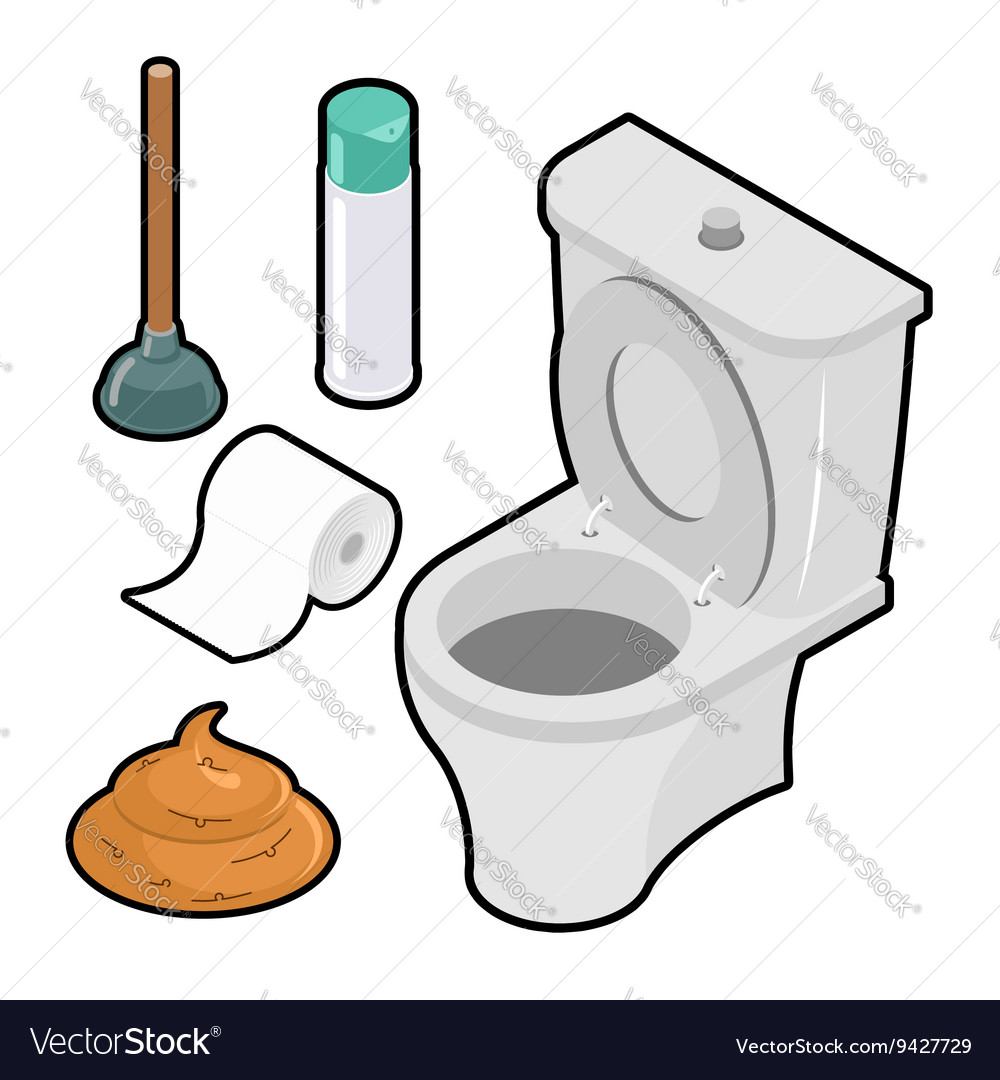 Toilet icon set isometric white toilet green vector