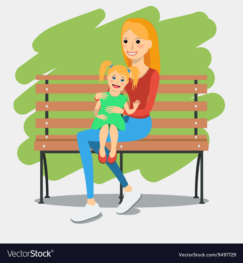 Young mother with daughter vector