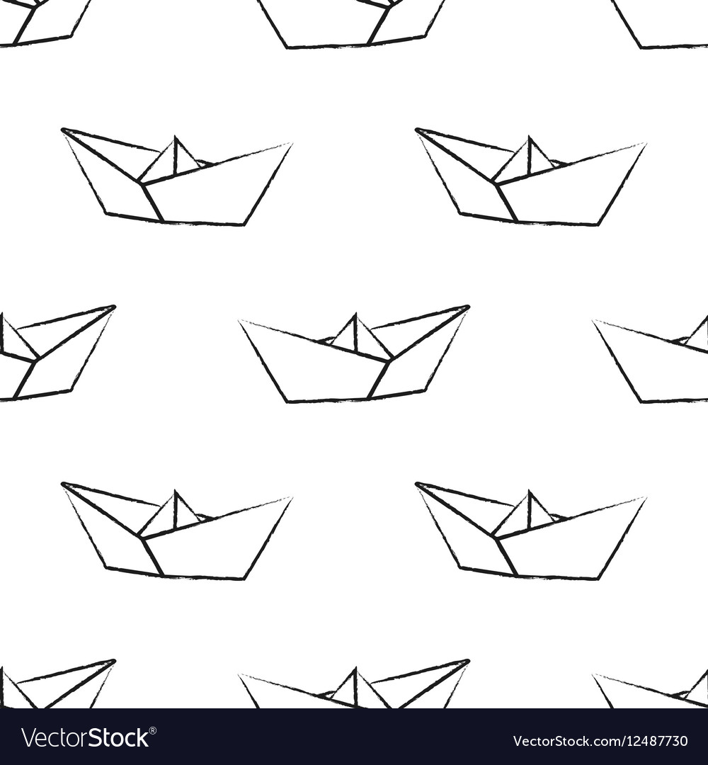 Origami paper ship vector