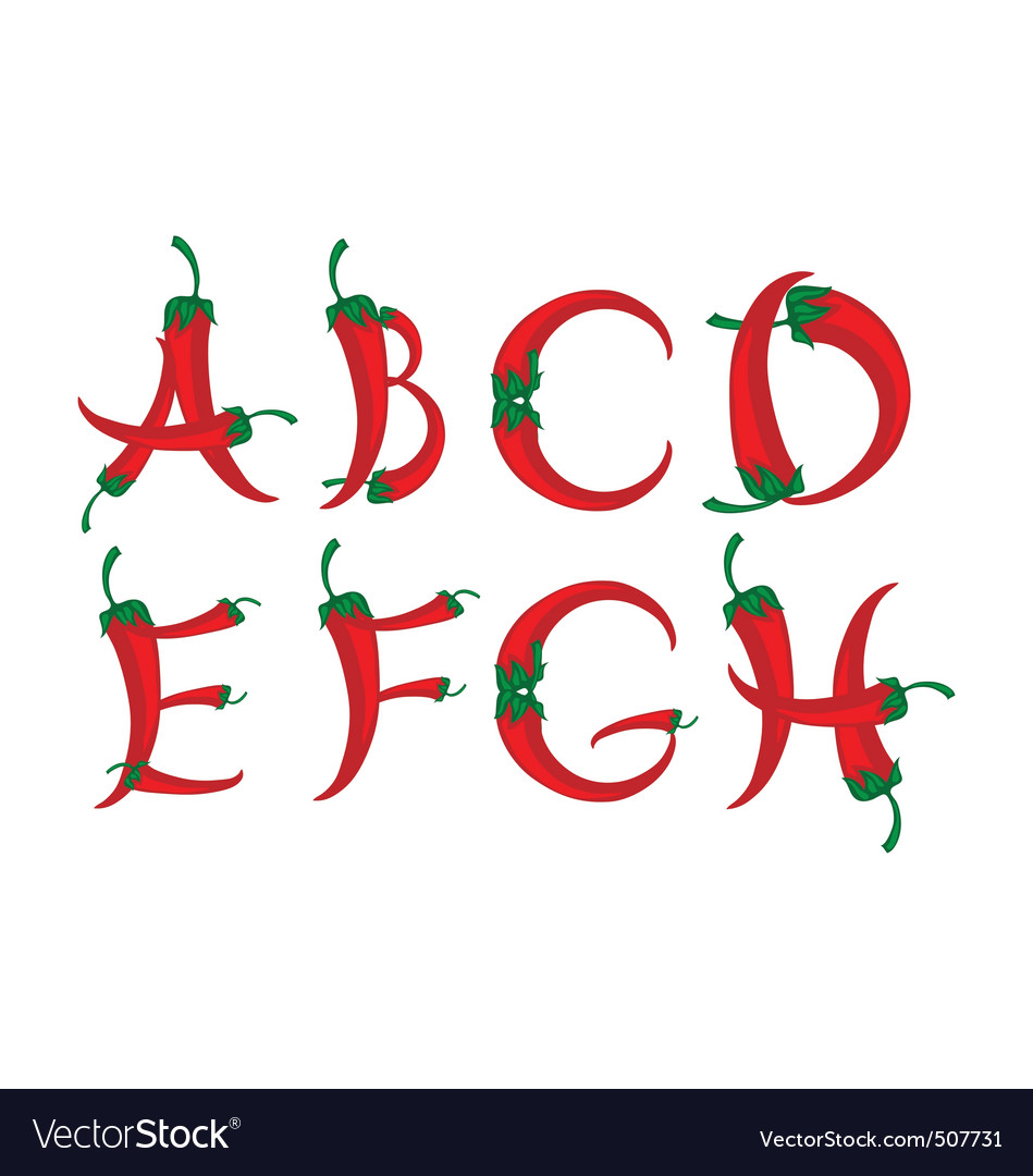 Chili peppers alphabet vector