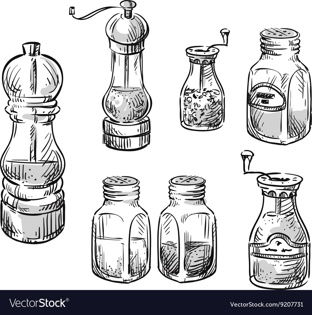 Salt and pepper shakers vector
