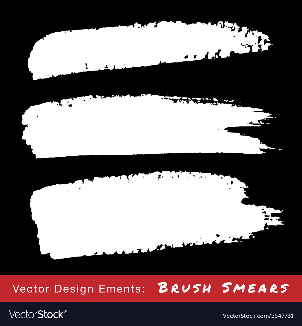 Set of white hand drawn grunge brush smears vector