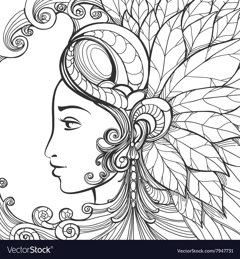 Zentangle woman face vector