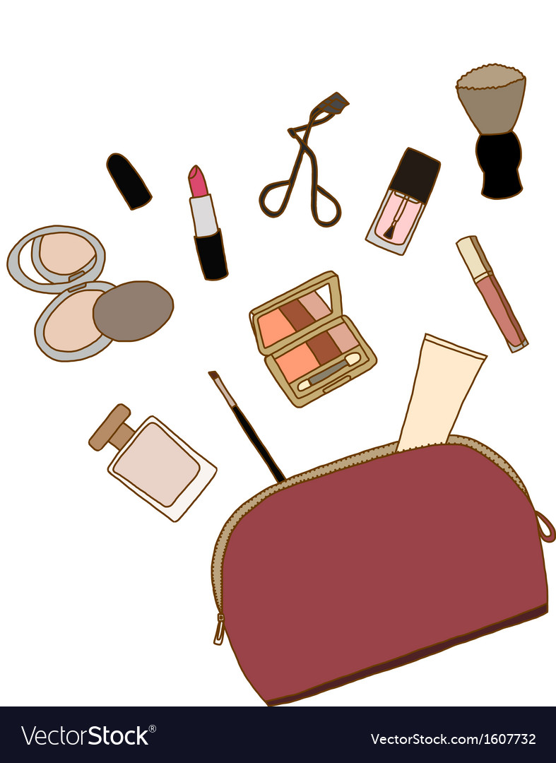 Cosmetic bag with a makeup accessories vector