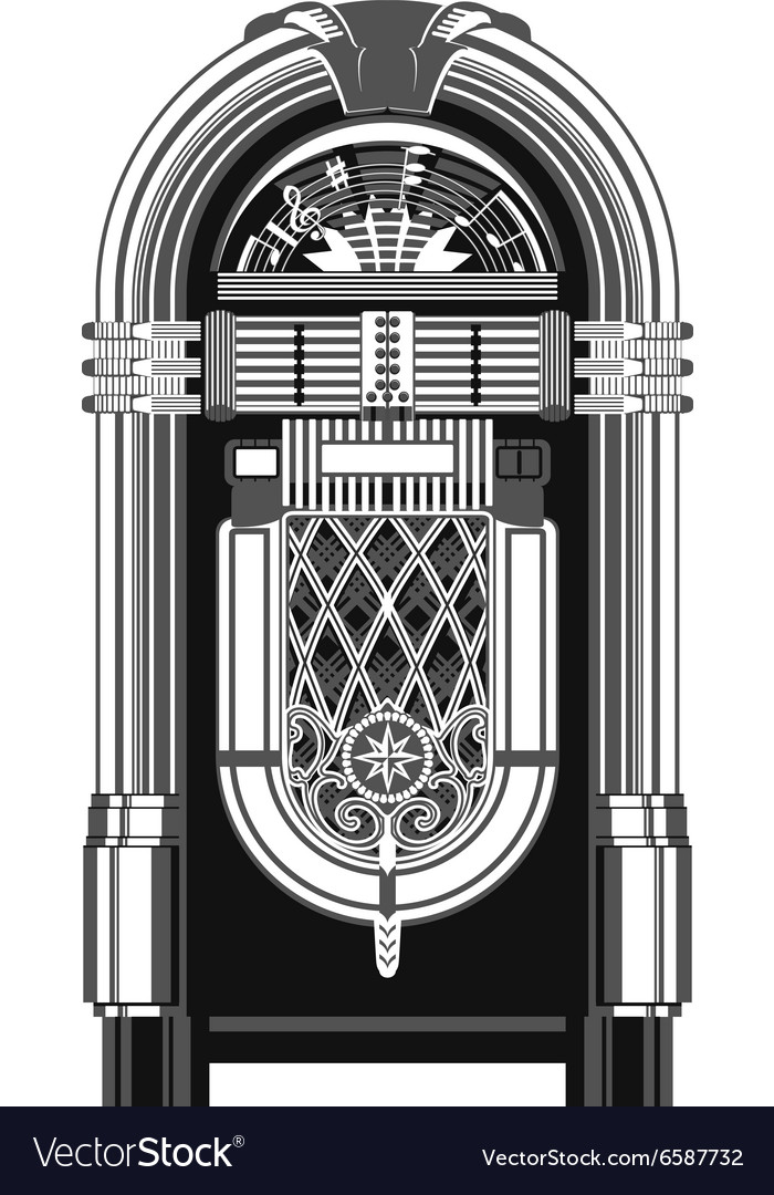 Jukebox  automated retro musicplaying machine vector