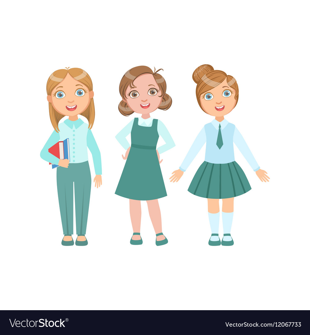 Girls in blue outfits happy schoolkids in similar vector