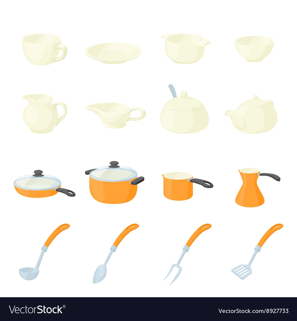 Pastry set icons cartoon style vector