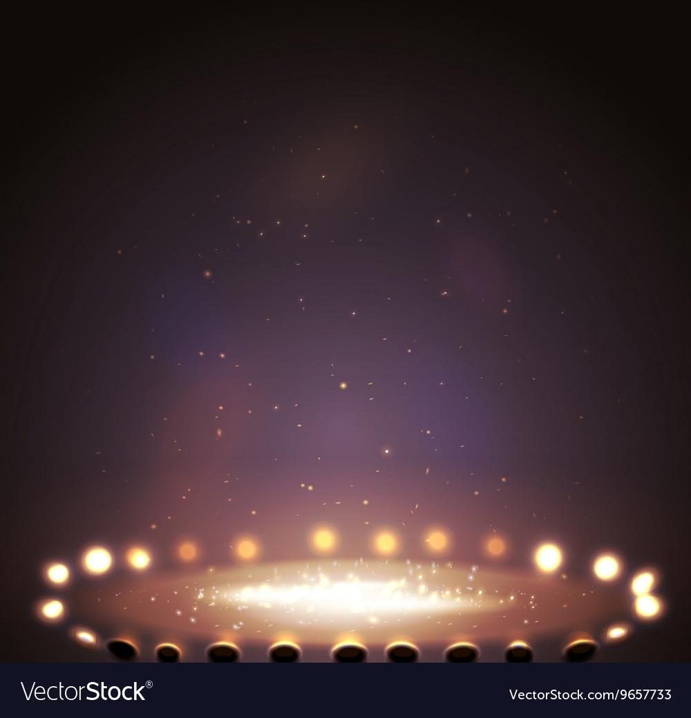 Stage with lights shine and spotlights vector