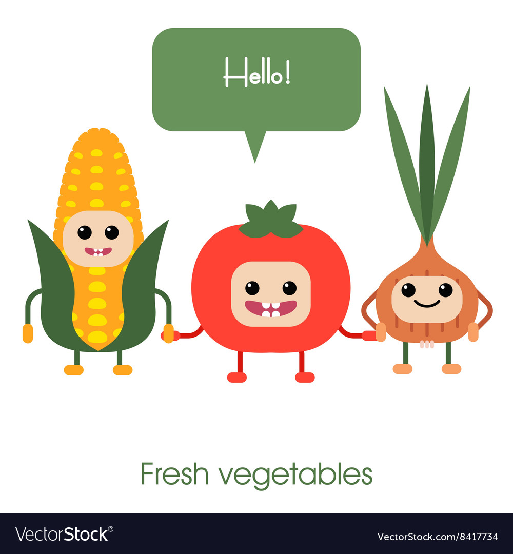 Cartoon cute smiling vegetables corn tomato vector