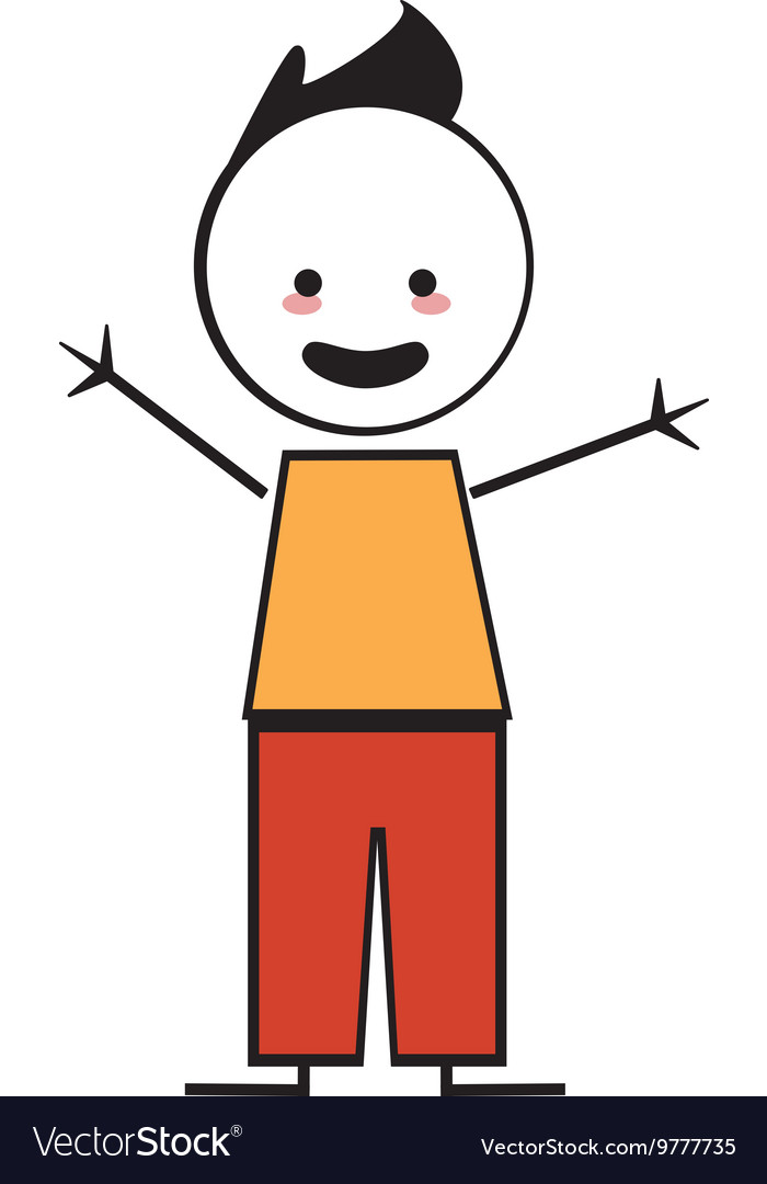 Happy boy with open arms icon stick figure vector