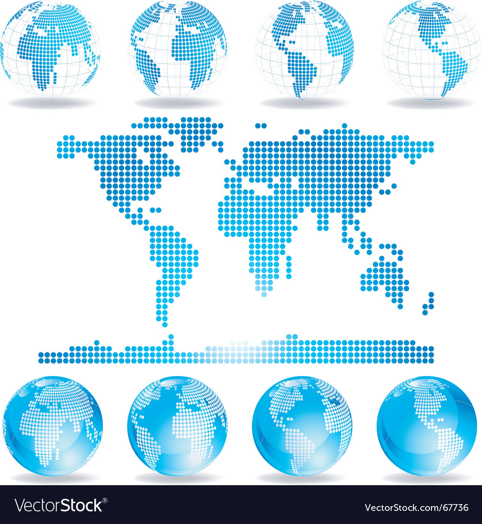 Dotted map and globes vector