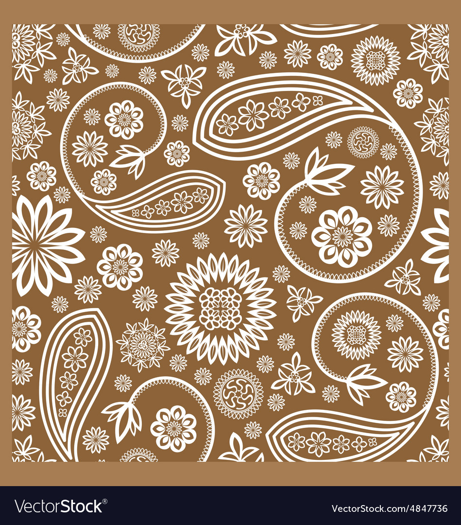 Floral seamless paisley ham pattern vector