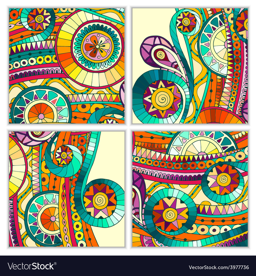 Set of four abstract doodle cards vector