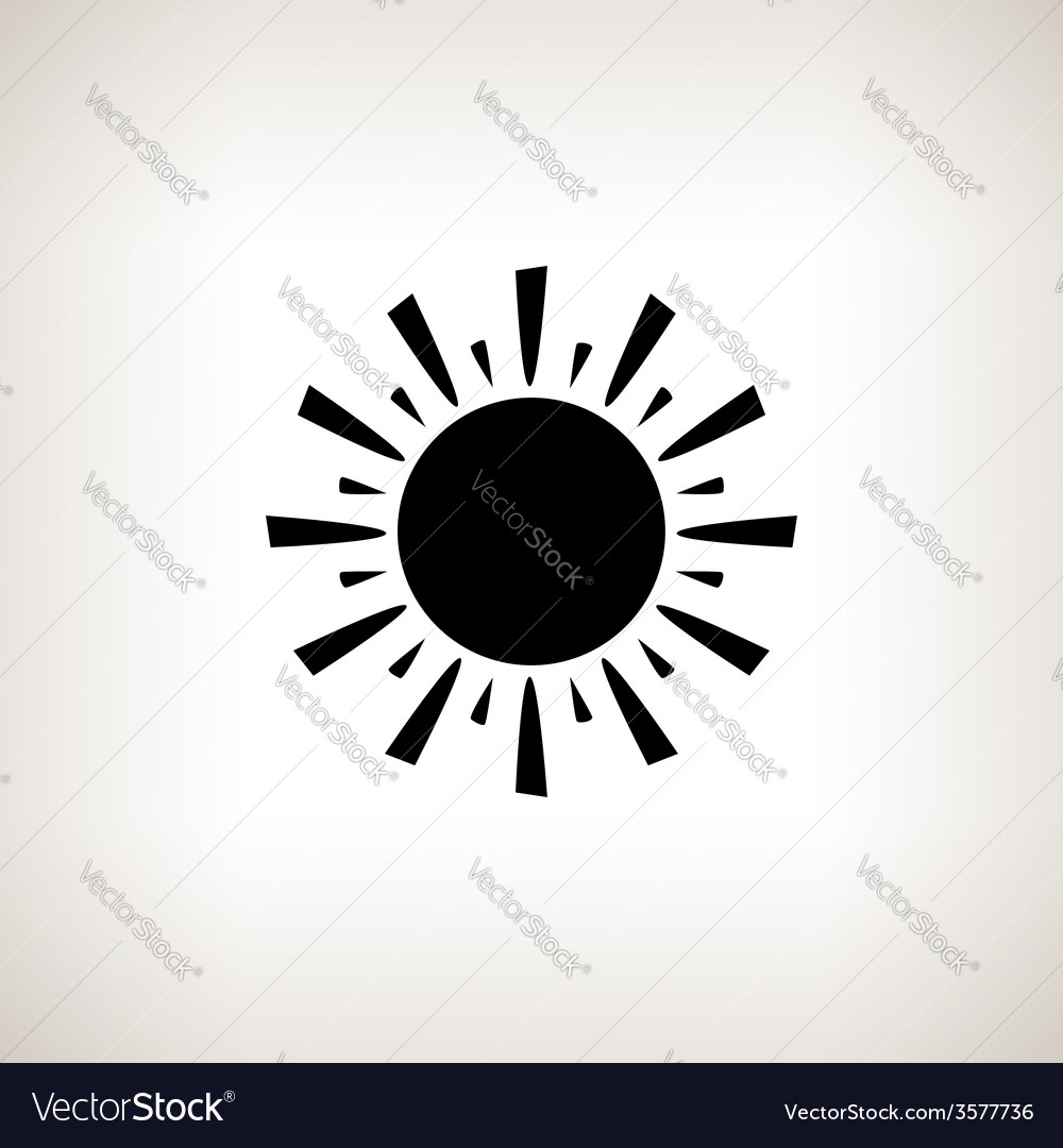Silhouette sun with rays on a light background vector