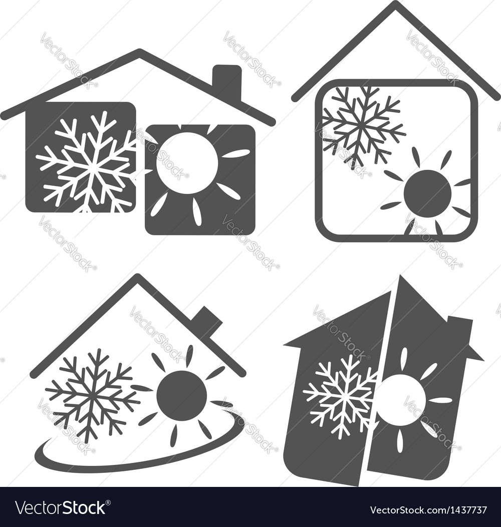 Air conditioner in the house vector