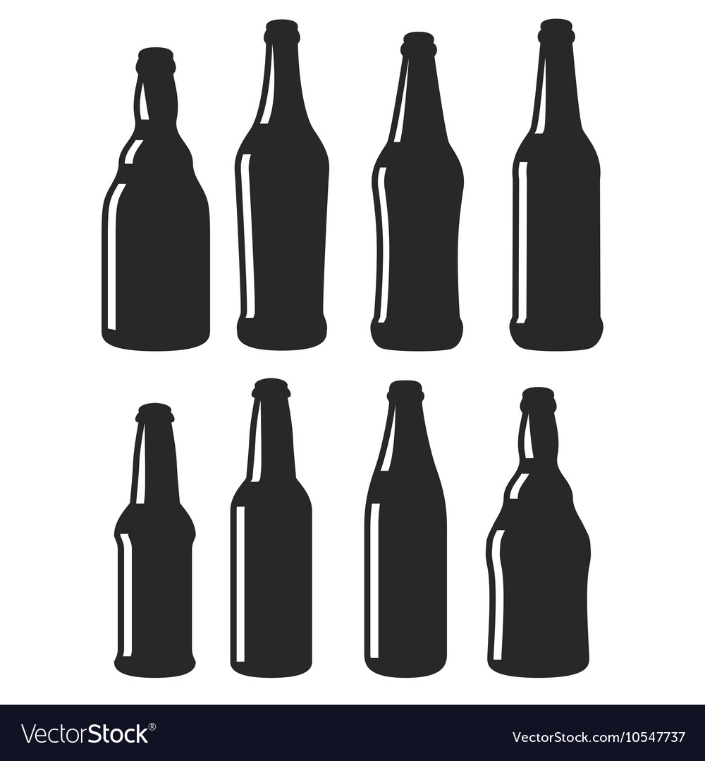 Beer bottles different shapes black icons vector