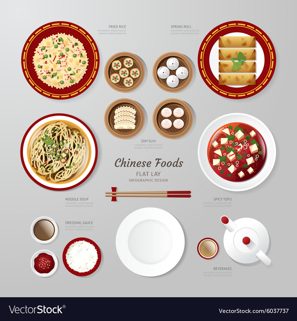 Infographic china foods business flat lay idea vector