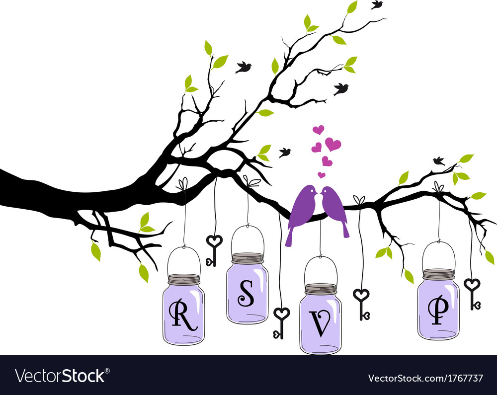Wedding invitation with birds jars and keys vect vector