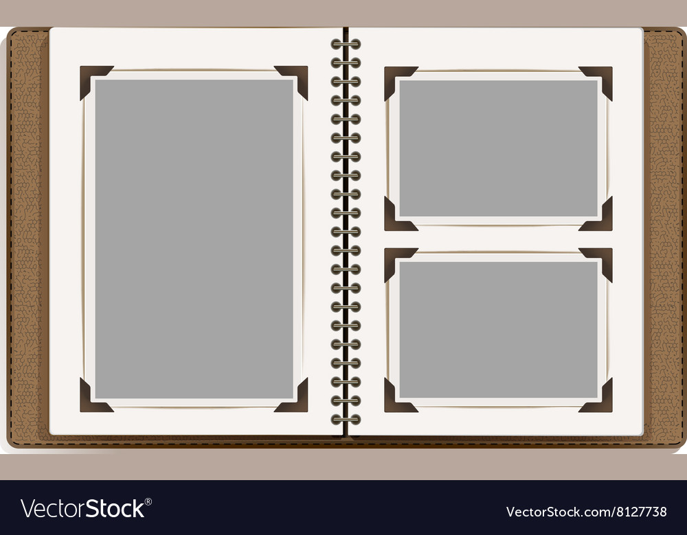 Aged open photo album vector