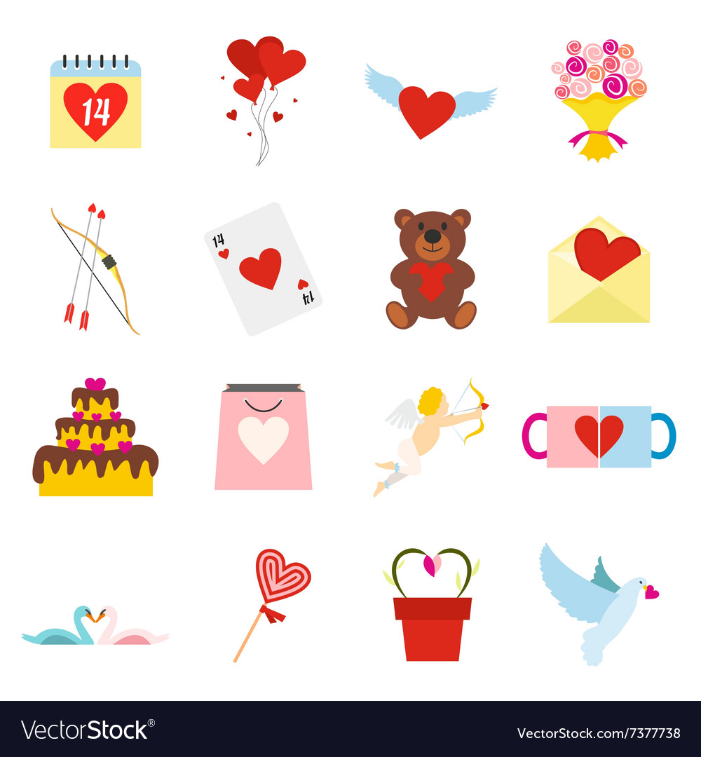 Valentines flat icons set vector