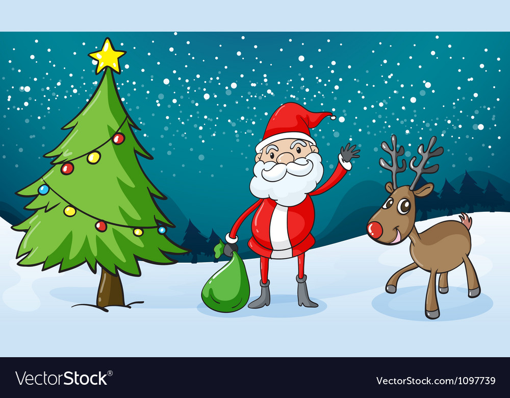 A reindeer and santa claus vector