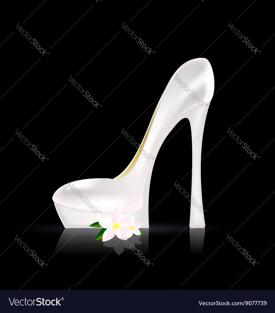White shoe and flower vector