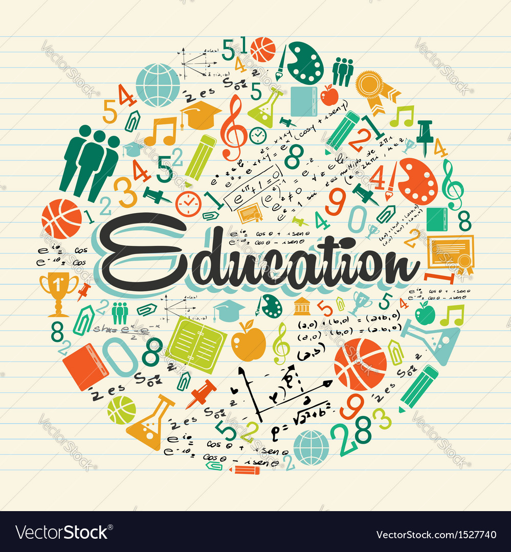 Education circle colorful icons vector