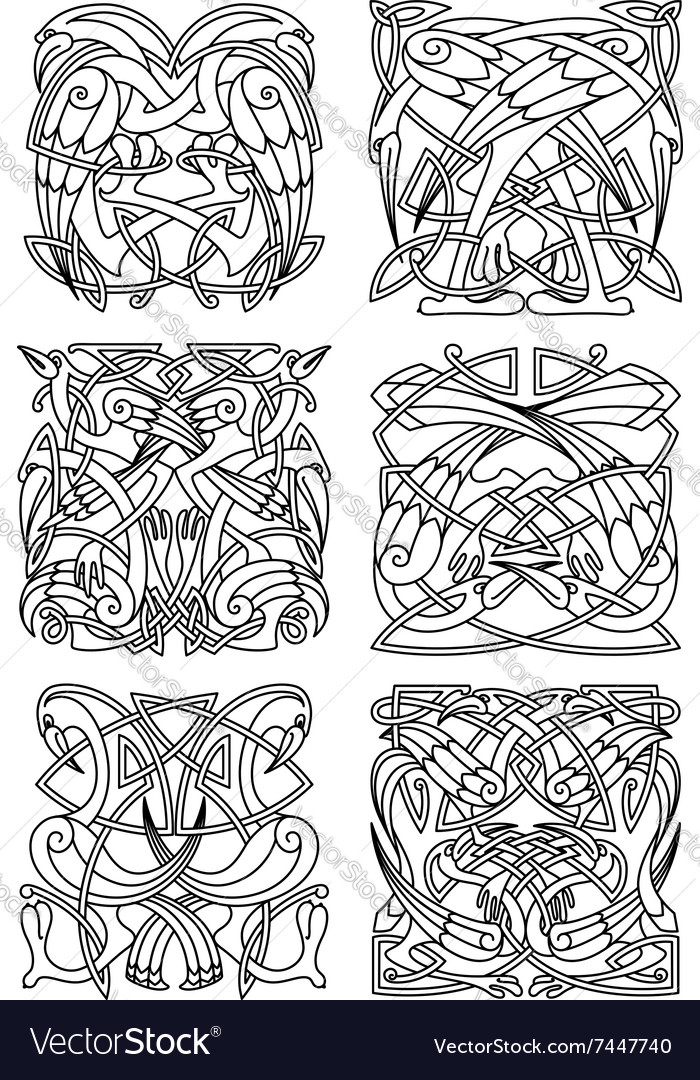 Heron stork and crane celtic ornaments vector