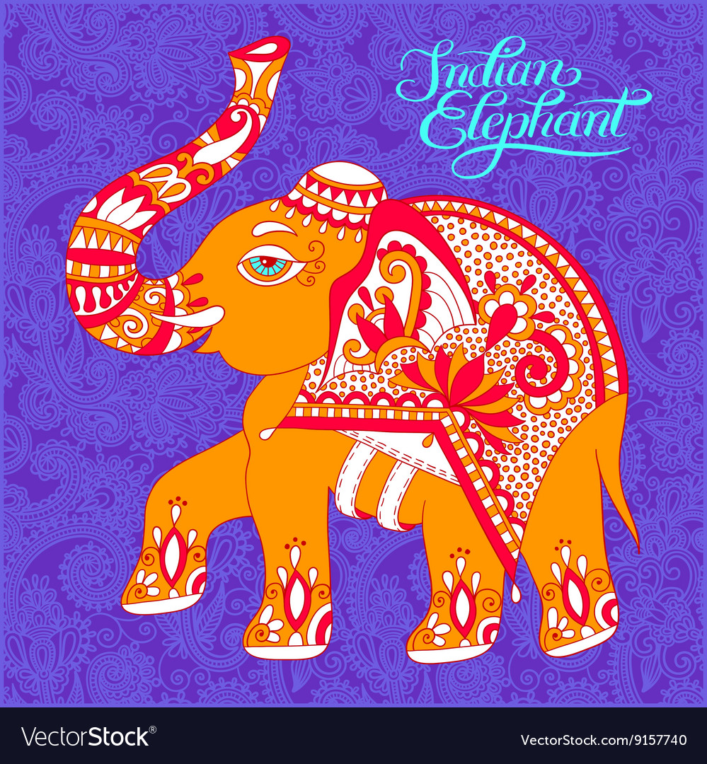 Original indian pattern with elephant and vector