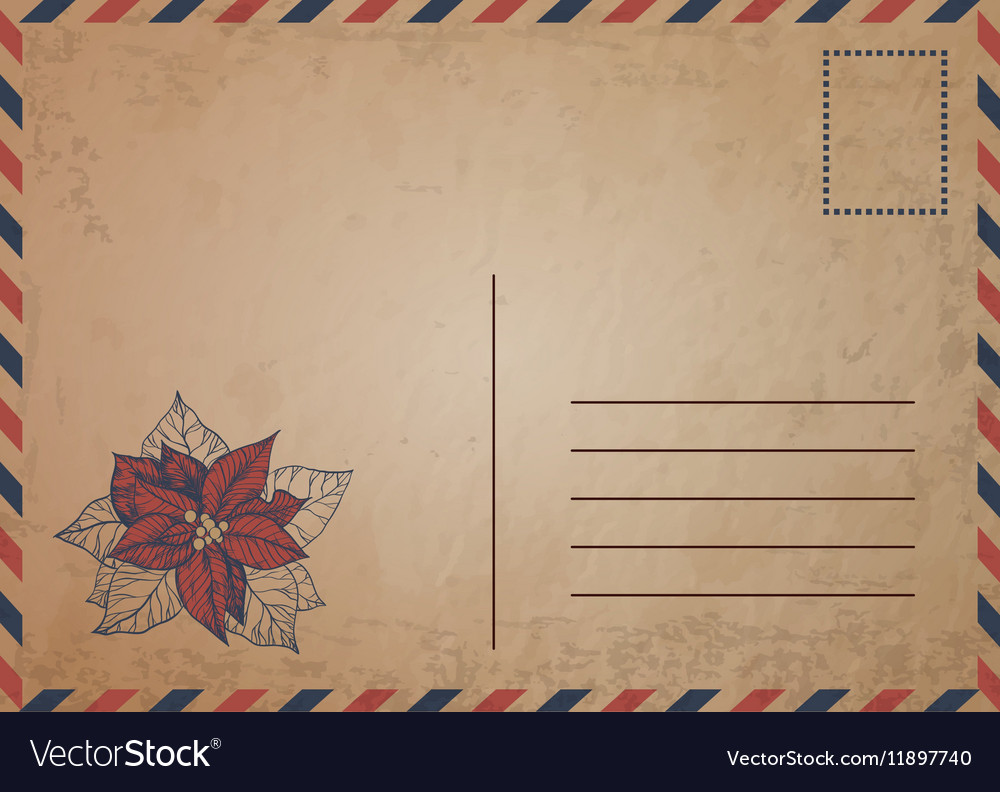 Vintage postcard with red poinsettia flowers vector