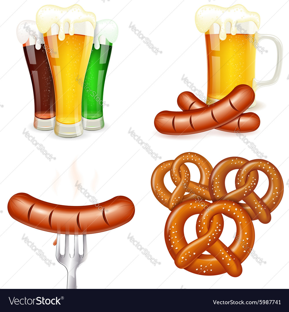 Oktoberfest themes with beer and snack vector