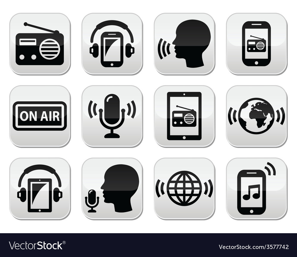 Radio podcast app on smartphone and tablet button vector