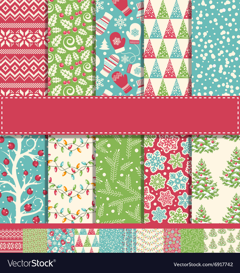 Set of 10 seamless bright fun christmas winter vector