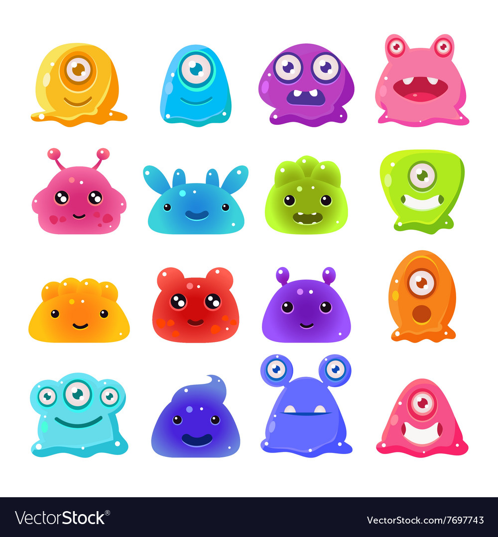 Cute cartoon jelly monsters set vector