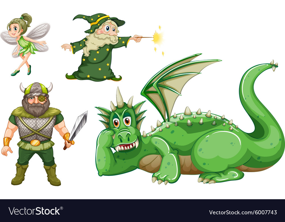 Fairy tale characters in green vector