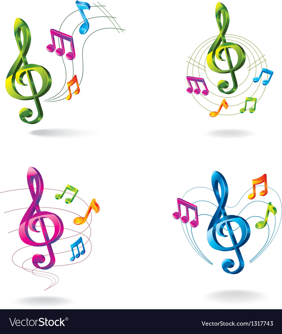Set of color music icons vector