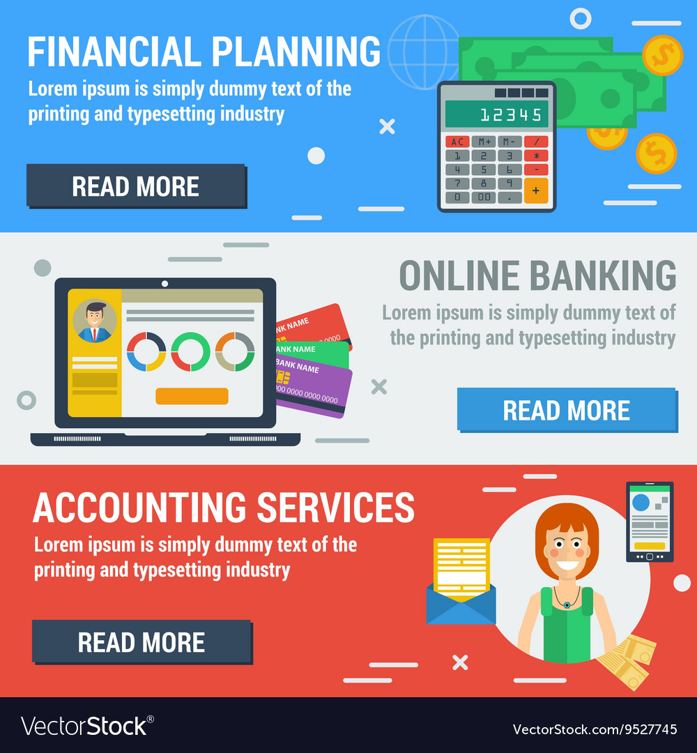 Three horizontal banners financial accountant vector