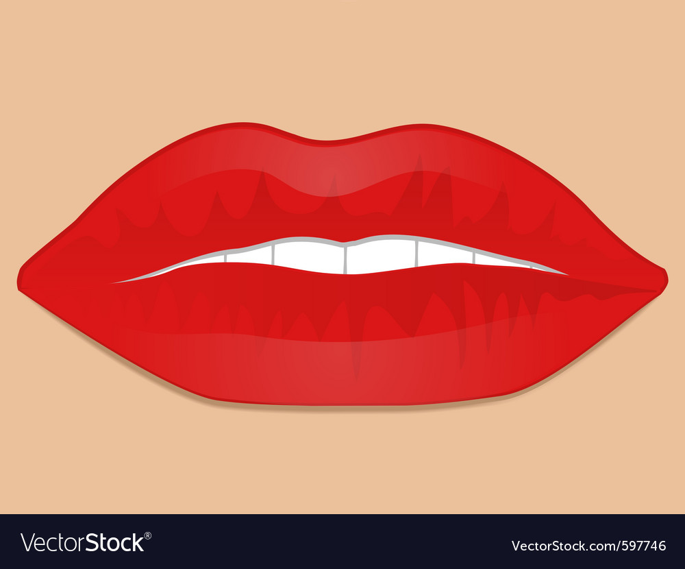 Mouth with glossy red lips and white teeth vector