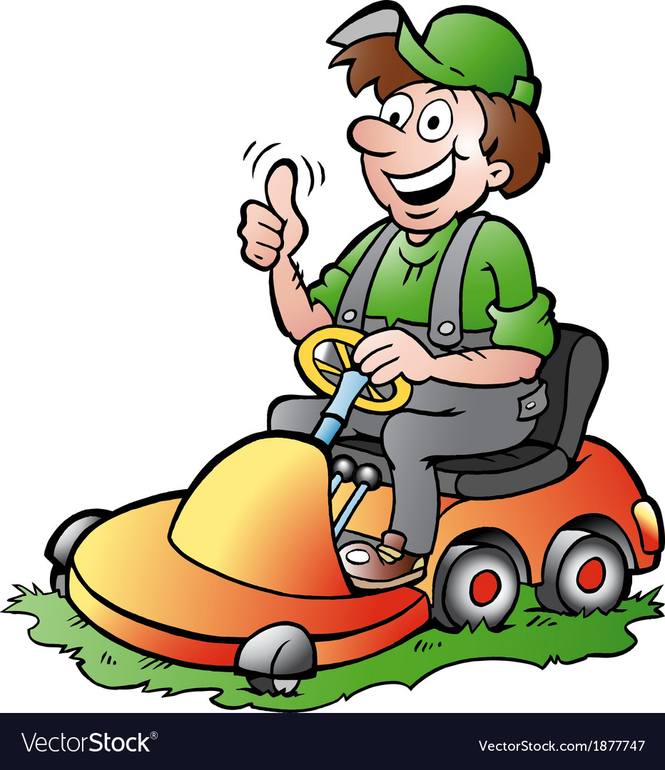 Handdrawn of an happy gardener riding his l vector