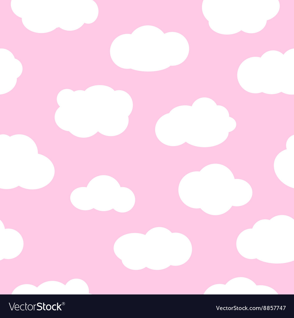 Pink sky with clouds seamless pattern vector