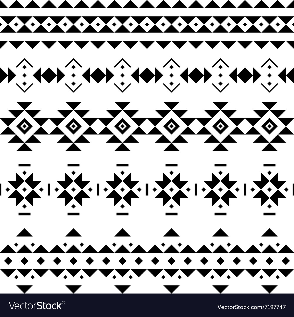 Set of seamless borders in the aztec style vector